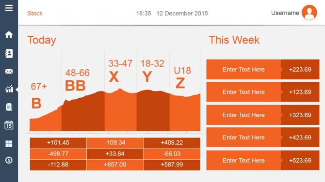 Orange data dashboard design for PowerPoint