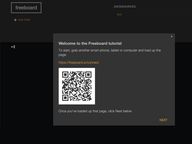 Start Dashboard Freeboard - Registar IoT Device