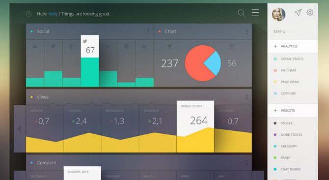 6 best flat dashboard web designs