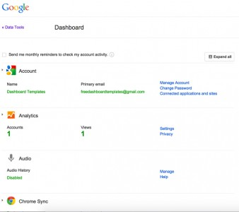 Dashboard of Google Account