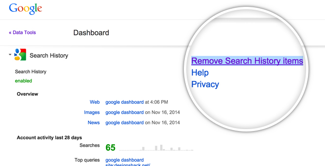 Google Dashboard Remove Search History Items