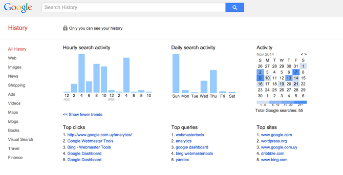 Search History Section Google Dashboard