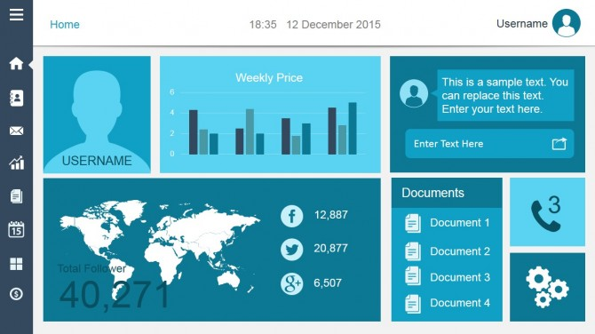Data dashboard template for PowerPoint with components and menu
