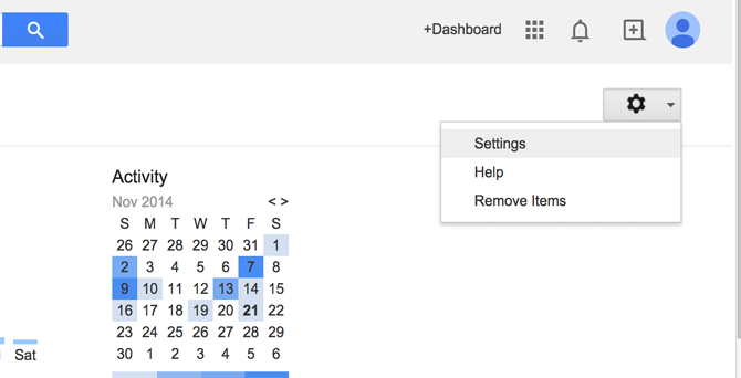 Google Dashboard Settings Menu