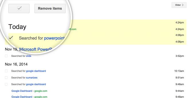 Google Dashboard Search Term Lists